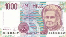 ITALIA BANCONOTA DA LIRE 1000  MONTESSORI  SERIE CG 129074 W   FDS - [ 2] 1946-… : Repubblica