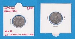 ANTILLAS HOLANDESAS / NEDERLANDSE ANTILLEN  25 CENTIMOS 1.971  NIQUEL  KM#11  MBC   DL-12.346 - Antille Olandesi