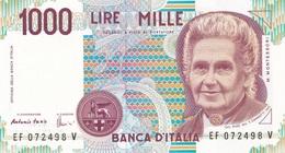 ITALIA BANCONOTA DA LIRE 1000  MONTESSORI  SERIE EF 072498 V   FDS - [ 2] 1946-… : Repubblica