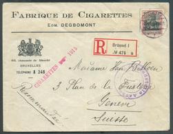 Belgium - Fabrique De Cigarettes Edm. Degbomont Lettre Recommandé De Bruxelles Le 12-12-1915 Vers Genève - 15301 - Usines & Industries