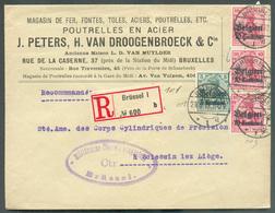 Belgium - Poutrelles En Acier Peters Et Van Droogenbroeck Fontes Toles Lettre Recommandé De Bruxelles Le 29-9-1915 Vers - Usines & Industries