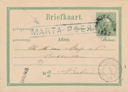 Nederlands Indië - 1887 - 5 Cent Willem III, Briefkaart G6 Van L MARTA-POERA Via Banjermasin Naar Batavia - Netherlands Indies