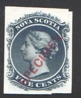 NOVA SCOTIA  Specimen Plate Proof On India Paper On Cardboard  Unitrade   10TCiv  SPECIMEN Type D  Superb Copy - Unused Stamps