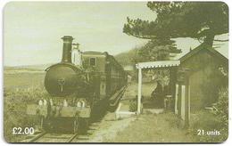 Isle Of Man - Chip - Steam Trains - Ballabeg Station - 1998, 5.000ex, Used - Isola Di Man