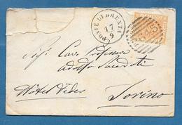 1878 PONTE DI BRENTA ANNULLO NUMERALE A SBARRE 2645 PADOVA - Storia Postale