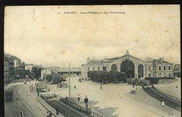 Nantes Gare D'Orléans Et Quai Richebourg Tramway Animée 1911 - Nantes
