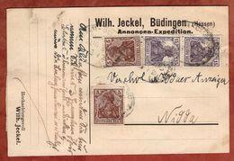 Karte, Wilh Jeckel Buedingen, Germania, Per Bahnpost Giessen-?, Nach Nidda 1921 (92202) - Deutschland
