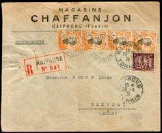 """INDOCHINE: """"perforé LJC - MAGASINS CHAFFANJON"""" Sur N°103(x4)+159 Sur LSC REC.d'HAIPHONG (1936) - Cartas"""