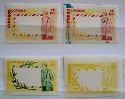 1988 URUGUAY MNH 4 PROOFS EPREUVE  IMPERFORATE   Post Office Day Postman Poste Cartero Facteur - Uruguay