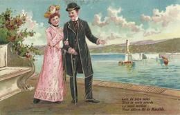 """6797""""LOIN DU PAYS NATAL,SOUS LA VOUTE AZUREE,LE SOLEIL MATINAL,VOUS DELIVRE  TÔT DE MORPHEE""""-CARTOLINA POSTALE SPED.1906 - Couples"""