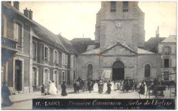 77 LAGNY - Première Communion - Sortie De L'église 24 Mai 1906 - Carte-photo - Lagny Sur Marne
