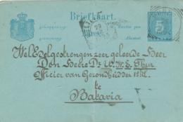 Nederlands Indië - 1896 - 5 Cent Cijfer, Briefkaart G10 Van VK MUNTOK Naar Weltevreden - Indes Néerlandaises