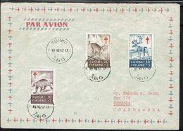Finlande - 1957 - Série 458/460 Oeuvres Antituberculeuses, Sur Enveloppe De Turku Vers Kampala (Uganda = Bea) - B/TB - - Finland