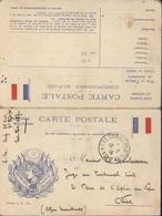 CP En Franchise Militaire Drapeau Français Et Cérès Laurée CAD Trésor Et Postes 19 2 15 SP 127 Texte Intéressant - Marcofilie (Brieven)