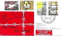 20 Anivº Libération Des Camps Sur Lettre Par Expres 1965 Yvert 1329/32 Voir 2 Scan - Belgium
