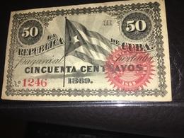See Photographs. Cuba 50 Cents Banknote 1869. - Cuba