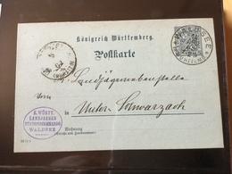 GÄ32343VII Württemberg Ganzsache Stationery Entier Postal DP 32/01 Von Waldsee Nach Unetrschwarzach - Wuerttemberg