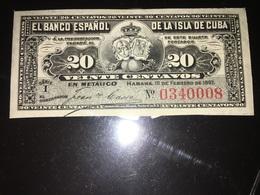 See Photographs. 1897 Cuba 20 Centavos Banknote. EL BANCO ESPANOL - Cuba