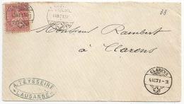 """Brieflein  """"Teysseire, Lausanne"""" - Clarens              1871 - 1862-1881 Helvetia Seduta (dentellati)"""