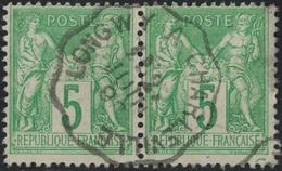 SAGE - N°106 EN PAIRE - CONVOYEUR LIGNE - LONGWY A CHARLEVILLE. - Marcophily (detached Stamps)