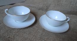 Scandinavian Pottery Sweden Lidkoping Alp 2x Porcelain Coffee Cup & Saucer White - Porselein & Ceramiek