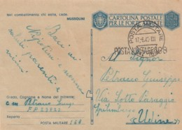 Italien Feldpost / Zensur Postkarte 1940-44 Tekst Mussolini - Italia