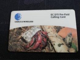 ANTIGUA  $ 15,- SOLDIER CRAB   ANU-04     Prepaid      Fine Used Card  ** 492** - Antigua And Barbuda