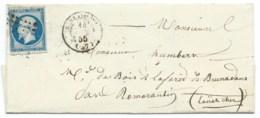 N° 14 BLEU NAPOLEON SUR LETTRE / BERLAIMONT POUR ROMORANTIN / 14 JUIN 1855 - 1849-1876: Période Classique