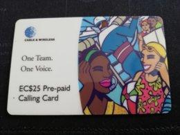 ST VINCENT & GRENADINES   $25,- ONE TEAM ONE VOICE STV-P2  Prepaid (RRRR)   Fine Used Card  ** 495** - St. Vincent & The Grenadines
