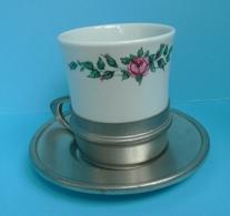 Old VTG Germany SKS Design ZINN 95% Metal Tea Coffee Cup Holder Cup Saucer Set - Ceramics & Pottery