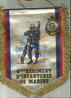 Fanion En Tissu 4 Eme Regiment D Infanterie De Marine  27  X 23  Cm - Drapeaux