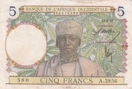 BILLET 5 FRANCS BANQUE DE L AFRIQUE OCCIDENTALE BON ETAT PICK 21  VOIR SCAN - Otros – Africa