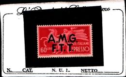 93444) ITALIA.- Trieste AMG-FTT-60 LIRE-Democratica, Soprastampa Su Due Linee - ESPRESSI - 1947- MLH* - 7. Trieste