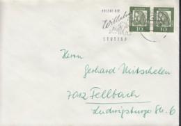 BRD 350y/350y MeF Auf Brief Mit Stempel: Stuttgart 9  23.11.1962 - [7] République Fédérale