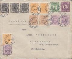 SCHWEDEN 3x 57, 3x 58, 3x 59, 2x 66, 68, 70 MiF, Auf Auslands-Brief, Gestempelt: PKXP No. 1C  28.8.1921 - Schweden