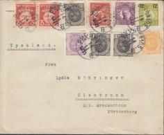 SCHWEDEN 3x 57, 58, 59, 2x 66, 70, 111, 2x 125 AW, 174 II MiF, Auf Auslands-Brief Gestempelt: PKXP No. 105 B  14.11.1921 - Schweden