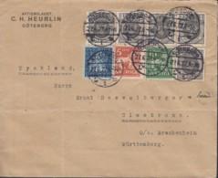 SCHWEDEN 5x 57, 137 BW, 174 II, 176 I MiF, Auf Auslands-Brief Gestempelt: Göteborg 27.6.1922 - Schweden
