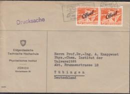 SCHWEIZ  Dienst 64 MeF, Auf Drucksache, Gestempelt: Zürich 24.VI.1959 Nach Tübingen - Oficial