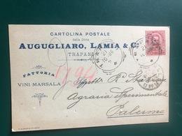 TRAPANI FATTORIA VINI MARSALA AUGUGLIARO, LAMIA & C.   1896  VINO  UVA - Trapani