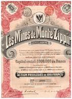 Titre Ancien - Les Mines De Monte Zippiri - Société Anonyme - Titre De 1911 - - Mines