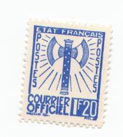 "Fra717 Francia Francobollo Servizio ""Francisque"" | Courrier Officiel N.7 Timbre Service France | 1.20 Francs Blue - 1943 - Service"