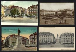 Conjunto 4 Postais CAIS DO SODRÉ Praça Duque De Terceira Com HOTEL, CARROS ANTIGOS, LOJAS, QUIOSKE, TYPOGRAPHIA - Lisboa