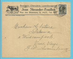 401 Op Geillustreerde Brief BOUCHERIE-CHARCUTERIE LUXEMBOURGEOISE / JEAN SHROEDER , Stempel HUY - 1934-1935 Léopold III