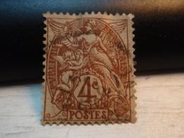 Timbre   Type Blanc 4 C Yvert Et Tellier : N° 110. Oblitéré Un Peu Gondolé. - 1900-29 Blanc