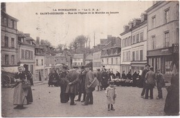 """Dépt 27 - La NORMANDIE - """"La CPA"""" N° 6 - SAINT-GEORGES - Rue De L'Église Et Le Marché Au Beurre - Très Animée - Saint-Georges-Motel"""