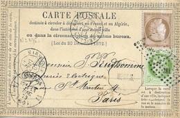 CARTE POSTALE TYPE DECEMBRE 1872 - 2 TYPE CERES, CACHETS DIFFERENTS 1873  - VOIR LES SCANNERS - Francia