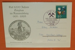 BRD BUND 547 Harz - SST /Cover: 338 Goslar 07.06.1968 - Rammelsberg 1000 Jahre Bergbau --- Karte (2 Foto)(61008) - Covers & Documents