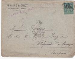 ESC De Aix-en-Provence (13) Pour Villefranche-de-Rouergue (12) - 21 Juin 1896 - Timbre Sage 5c YT75 E II B - CAD Rond - Marcophilie (Lettres)