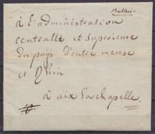 L. Datée 4 Germinal An 3 (1795) De La Municipalité De PETIT-RECHAIN Pour AIX-LA-CHAPELLE Par Battice - 1794-1814 (Französische Besatzung)