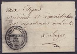 """L. Admin. Département De L'Ourte Datée 5 Vendemiaire An 5 (1796) De HERSTAL Pour LIEGE - Cachet """"COMMre DU DIR. EX. PRES - 1794-1814 (Période Française)"""